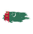 grunge brush stroke with turkmenistan national vector image vector image
