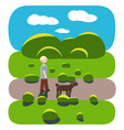 guy and his dog walk in the park vector image vector image