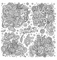 hand drawn doodles cartoon set of africa vector image