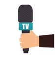 hand holding microphone tv news graphic vector image