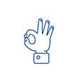 hand ok line icon concept hand ok flat vector image vector image