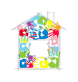 House made from childrens and parents handprints vector image vector image