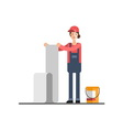 House repair Woman glues wallpaper vector image vector image