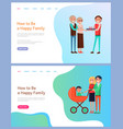 how to be happy family parents with perambulator vector image vector image