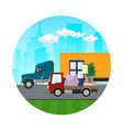 icon of trucks drive on the road vector image