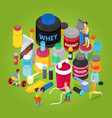 isometric sports nutririon elements vector image