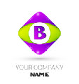 letter b logo symbol in colorful rhombus vector image vector image