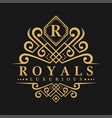 letter r logo - classic luxurious style logo vector image