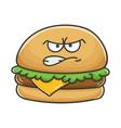 mad angry cheese burger cartoon vector image vector image