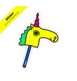 magic colorful bright unicorn sticker vector image