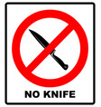 no knife no weapon prohibition sign sign on white vector image vector image