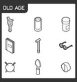 old age outline isometric icons vector image vector image