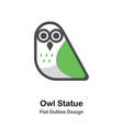 owl statue outline flat vector image vector image