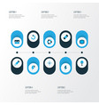 picture icons colored set with wide angle shutter vector image vector image