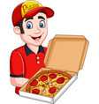pizza deliveryman holding open cardboard box with vector image vector image