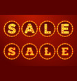 realistic glowing sale signs with lamps vector image vector image
