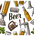 seamless pattern beer tap class can bottle vector image vector image