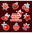 Set of Christmas sticker toys on a red background vector image