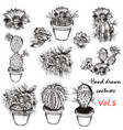 Set of hand drawn cactuses for design