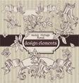 Set of vintage magic fairytale floral design vector image