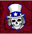 skull wearing hat hand drawing vector image vector image