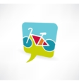 speech bubble icon with a bicycle vector image vector image