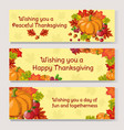 thanksgiving day banner set pixel art autumn vector image