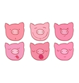 The set of faces of the pigs vector image