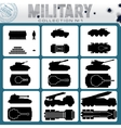 Various Military Vehicles Icons vector image