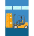 Warehouse worker moving load by forklift truck vector image vector image