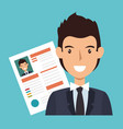 businessman character avatar with cv icon vector image