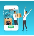 Online shopping on internet using mobile vector image
