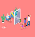 3d isometric flat concept online video vector image