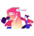 a boy and a girl chatting on a chat flat icon of vector image vector image