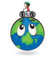 a boy riding on bicycle on earth globe vector image vector image