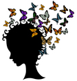 abstract young girl face silhouette in profile wit vector image vector image