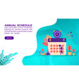 annual schedule concept with character template vector image