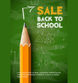 back to school sale poster pencil on green
