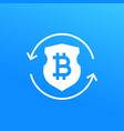 bitcoin secure exchange icon vector image vector image