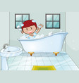 boy taking bubble bath alone vector image vector image
