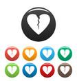 broken heart icons set color vector image