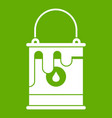bucket with paint icon green vector image vector image