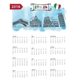 Calendar 2016Italy Landmarks skylinewatercolor vector image vector image