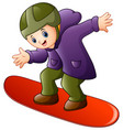 cartoon boy playing snowboard vector image vector image