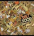 cartoon doodles diet food frame bright vector image vector image