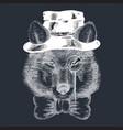 cartoon hand drawn animal hipster wild wolf vector image vector image