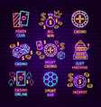casino game neon label set vector image vector image