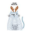 cute hand drawn cat in festive deer horns cartoon vector image