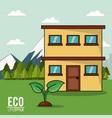 eco lifestyle house plant landscape image vector image vector image