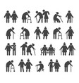 elderly people icons vector image